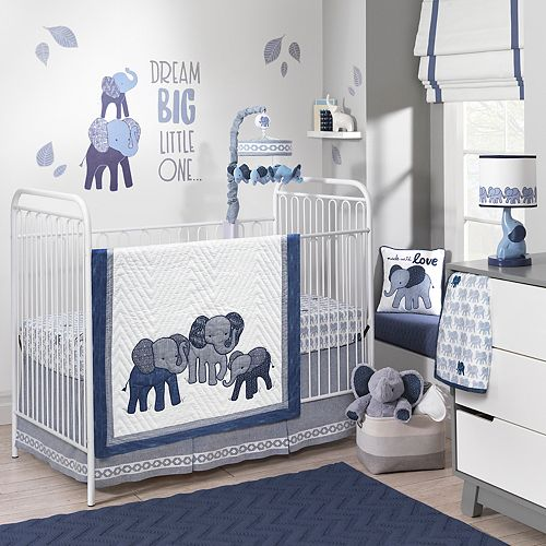 Indigo Elephants Crib Bedding Set