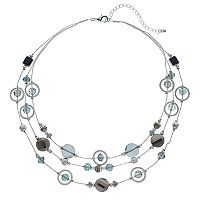 Blue Orbital Beaded Multi Strand Necklace
