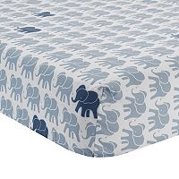 Lambs & Ivy Indigo Elephants Crib Sheet