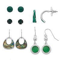 Simulated Abalone, C-Hoop & Circle Drop Nickel Free Earring Set