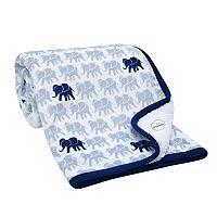Lambs & Ivy Indigo Elephants Plush Blanket