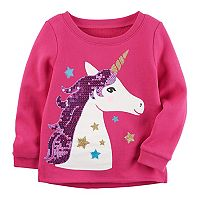 Toddler Girl Carter's Fleece-Lined Sequin Unicorn Sweatshirt