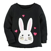 Toddler Girl Carter's Fleece-Lined Sequin Bunny Sweatshirt