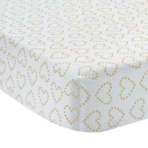 Lambs & Ivy Confetti Metallic Hearts Crib Sheet