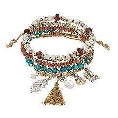 Tassel & Bead Multi Row Stretch Bracelet