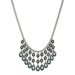 Blue Cabochon Statement Necklace