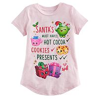 Girls 4-10 Jumping Beans® Shopkins Apple Blossom, Hot Choc & Kooky Cookie Santa's List Graphic Tee
