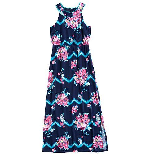 Girls 7-16 Three Pink Hearts Pom Pom Neckline Floral Cameo Maxi Dress