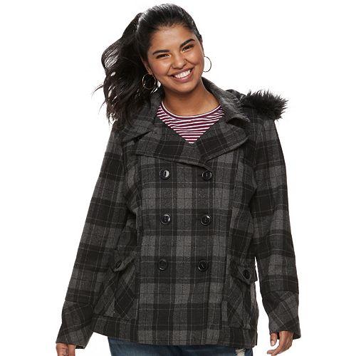 Juniors' Plus Size Urban Republic Wool Double-Breasted Peacoat