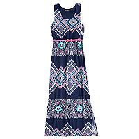 Girls 7-16 Three Pink Hearts Racerback Cameo Side Slit Maxi Dress