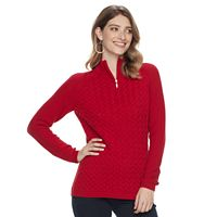 Women's Croft & Barrow® 1/4 Zip Textured Sweater
