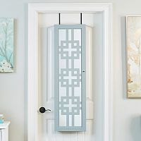 InnerSpace Gray Wall & Over-The-Door Mirror Jewelry Armoire