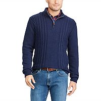 Big & Tall Chaps Regular-Fit Quarter-Zip Fisherman Pullover Sweater