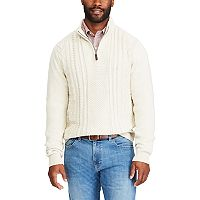 Big & Tall Chaps Regular-Fit Quarter-Zip Fisherman Pullover Sweater
