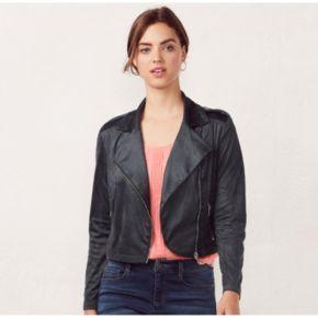 Women's LC Lauren Conrad Faux-Suede Moto Jacket