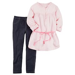 Girls 4-8 Carter's Striped Twill Top & Jeggings Set