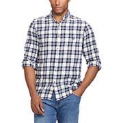 Big & Tall Chaps Regular-Fit Plaid Flannel Performance Button-Down Shirt