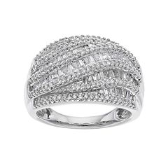 Sterling Silver 1 Carat T.W. Diamond Baguette Ring