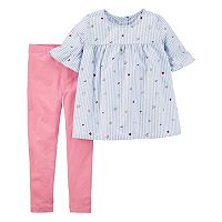 Girls 4-8 Carter's Embroidered Graphic Top & Leggings Set