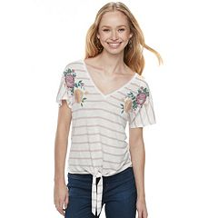 Juniors' About A Girl Embroidered Tie-Front Tee