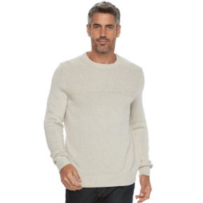 Big & Tall Croft & Barrow® Classic-Fit Textured Yoke Crewneck Sweater