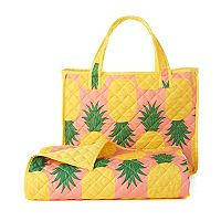Celebrate Summer Together Pineapple Quilted Beach Blanket & Tote