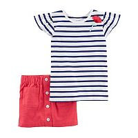 Girls 4-8 Carter's Striped Top & Skort Set