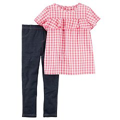 Girls 4-8 Carter's Pink Gingham Plaid Ruffle Top & Faux-Denim Leggings Set