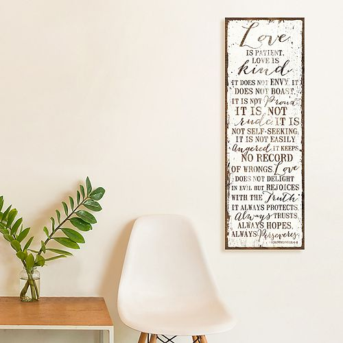 """Artissimo Designs Faux Wood """"Love Is Patient"""" Canvas Wall Art"""