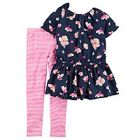 Girls 4-8 Carter's Floral Top & Striped Leggings Set