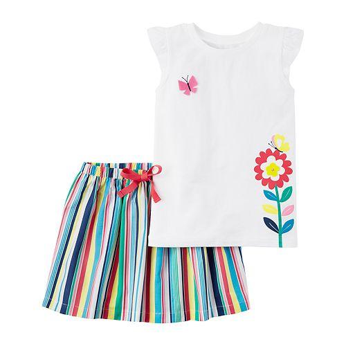 2a7565db156d6 Girls 4-8 Carter's Flutter Sleeve Butterfly Top & Rainbow Striped Skirt