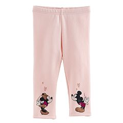 Disney's Mickey Mouse & Minnie Mouse Baby Girl Fleece-Lined Glittery Kissing Graphic Leggings by Jumping Beans®