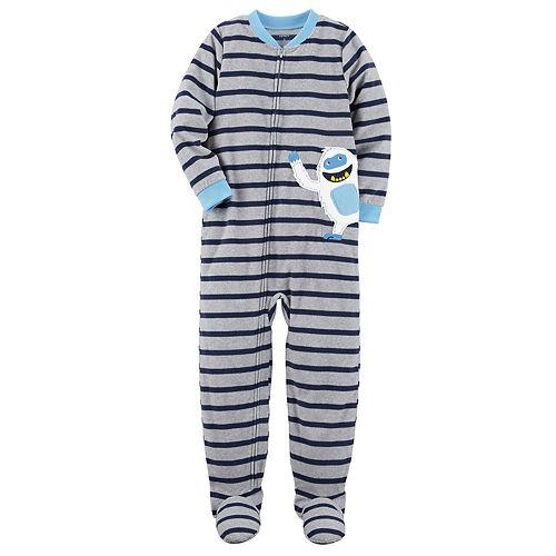 9a157db3c5e5 Boys 4-8 Carter s Yeti Striped 1-Piece Footed Pajamas
