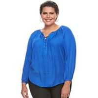 Plus Size Jennifer Lopez Lace-Up Chiffon Blouse