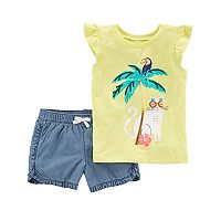 Girls 4-8 Carter's Cat & Palm Tree Sequin Graphic Tee & Shorts Set