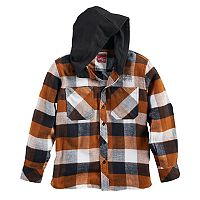 Boys 8-20 Button-Down Plaid Flannel Hooded Shirt