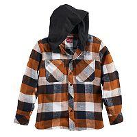 Boys 8-20 Button-Down Plaid Flannel Hooded Shirt