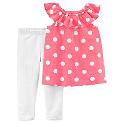 Girls 4-8 Carter's Polka-Dot Top & Leggings Set