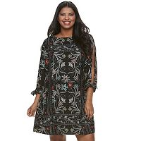 Juniors' Plus Size HeartSoul Floral Split-Sleeve Shift Dress