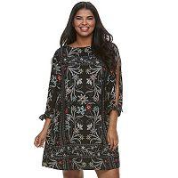 Juniors' Plus Size HeartSoul Floral Split-Sleeve Shift Dress