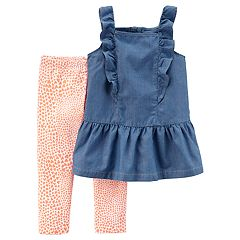 Girls 4-8 Carter's Chambray Tank Top & Heart Leggings Set