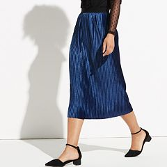 k/lab Pleated Velvet Midi Skirt
