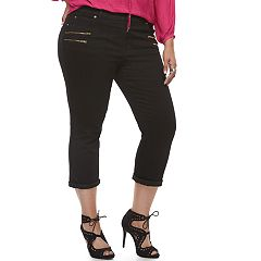 Plus Size Jennifer Lopez Zipper Accent Capris