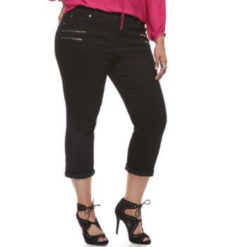 Plus Size Jennifer Lopez Zipper Accent Capris