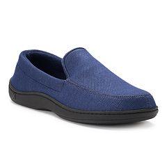 eb1ab6f7b Men s isotoner Chandler Knit Twill Hoodback Moccasin Slippers. Navy Blue  Chocolate Black