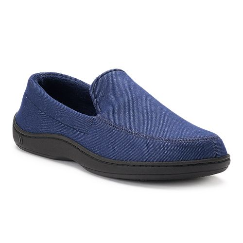 fd23fb928a7a4 Men's isotoner Chandler Knit Twill Hoodback Moccasin Slippers