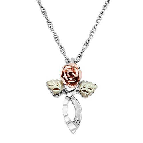 Black Hills Gold Tri Tone Rose Cross Pendant in Sterling Silver