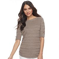 Women's Apt. 9® Ruched Ribbed Crewneck Sweater