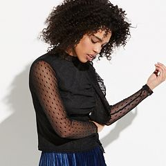 k/lab Dot Mesh Long Sleeve Top