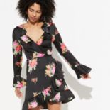 k/lab Long Sleeve Floral Wrap Dress
